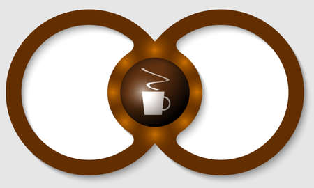 intermission: brown text frames for any text with cup of coffee