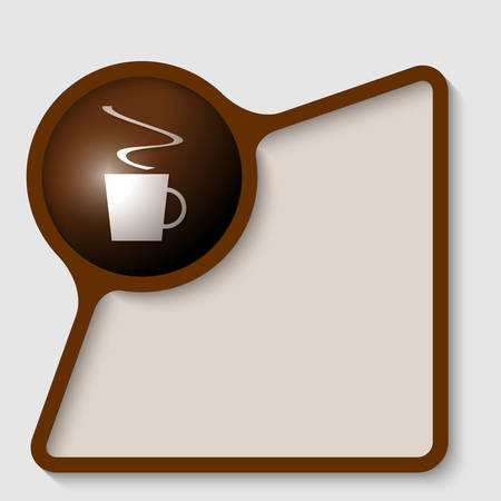 insertion: brown text frame for insertion text with cup of coffee Illustration