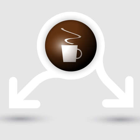 intermission: abstract frame with two arrows and cup of coffe