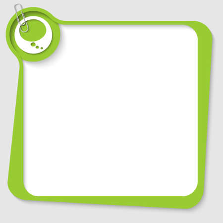 green blank text box with speech bubble and paper clip Vector