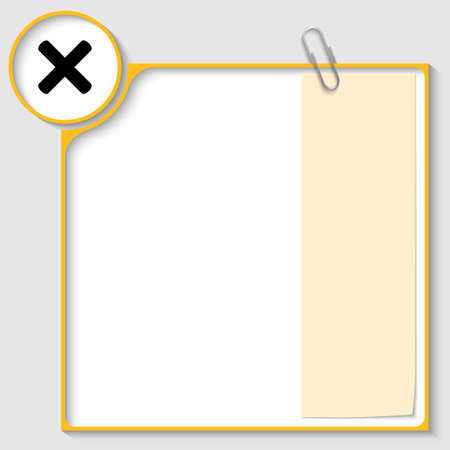 yellow frame for text with a ban mark and notepaper