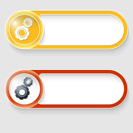 set of two vector abstract buttons with cogwheels