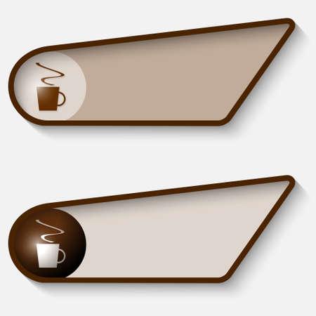 brown box: Set di due scatola marrone per il testo e la tazza di caff�