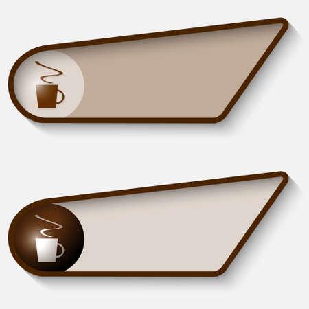 brown box: set of two brown box for text and cup of coffee Illustration
