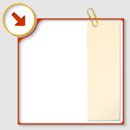 red frame for text with a arrow and notepaper