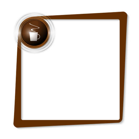intermission: brown text frame and transparent circles with cup of coffee Illustration