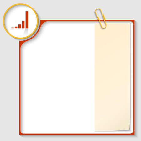 red frame for text with a graph and notepaper