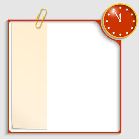 red frame for text with a clock and notepaper