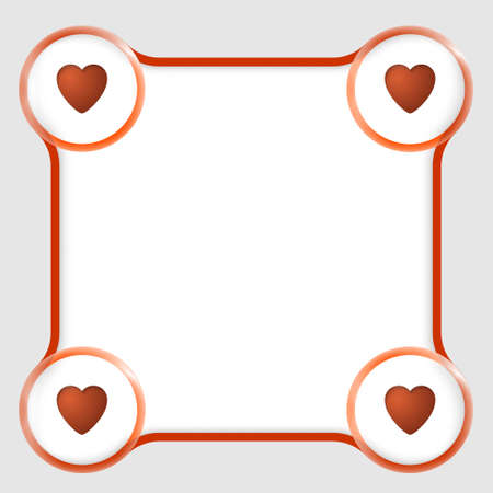 page border: red text box for any text and hearts Illustration