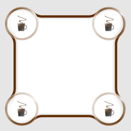 intermission: brown text box for any text and cup of coffee Illustration