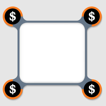 orange and gray frame for any text with four dollar signs Vector