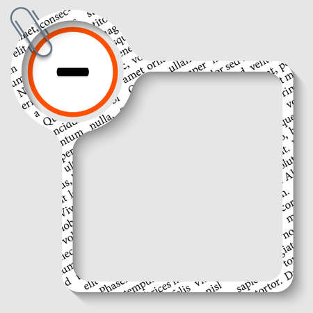 minus sign: vector box for any text with minus sign and paper clip
