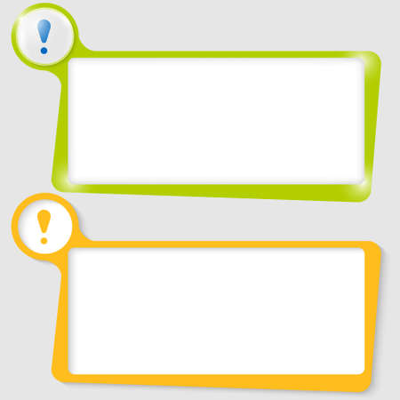 note of exclamation: set of two text boxes for text with the exclamation mark