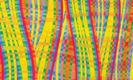 jaune rouge: rouge, jaune; bleu; vert abstraites lignes vectorielles Illustration