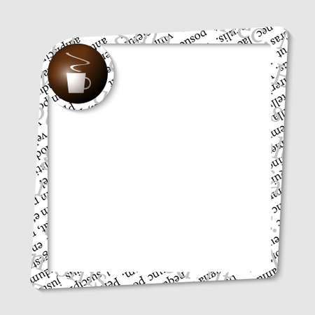 intermission: vector text box for any text with cup of coffee