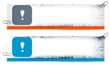 set of two dirty banners with exclamation mark Vector