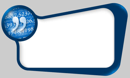 blue box for  text with quotation mark and texture of numbers Vector