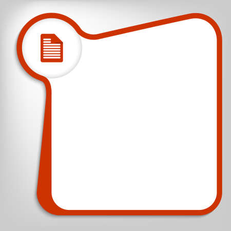 red vector box for entering text with note icon