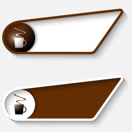 brown box: Set di due scatola marrone per il testo con una tazza di caff�
