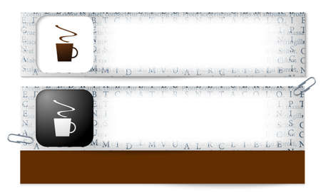 intermission: set of two banners with the texture of the letters and cup of coffee