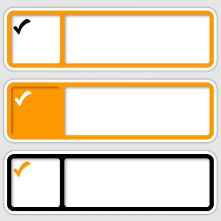 checkbox: set of three frames for inserting text and checkbox