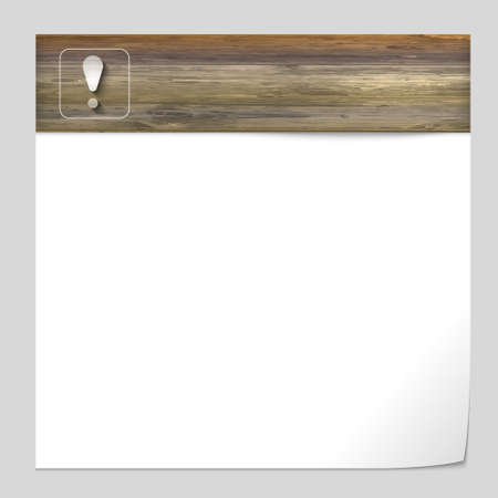 vector banner with wood texture and exclamation mark Vector