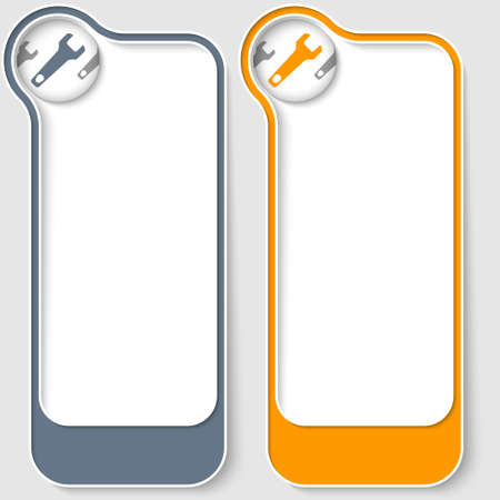 set of two vector text boxes with spanner