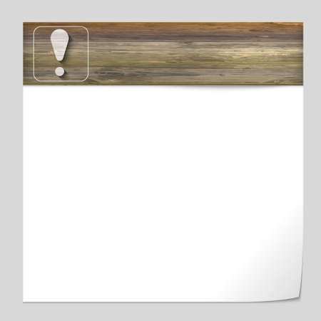 note of exclamation: vector banner with wood texture and exclamation mark