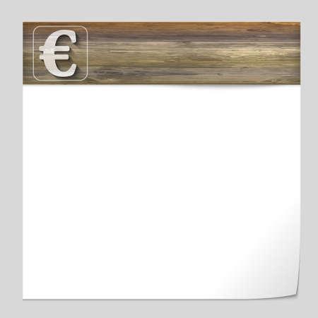 euro teken: vector banner met houtstructuur en euro teken
