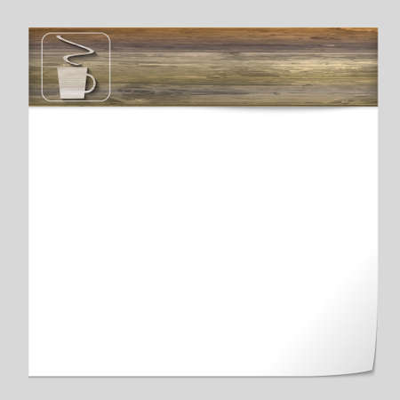 intermission: vector banner with wood texture and cup of coffee