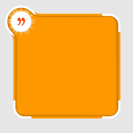 orange abstract text frame for text with quotation mark