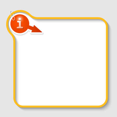 inform: yellow vector text frame with info sign and paper clip