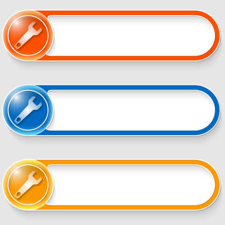 set of three vector abstract buttons with spanner