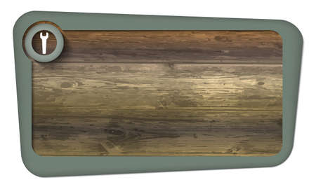 insertion: box for insertion text with wood texture and spanner