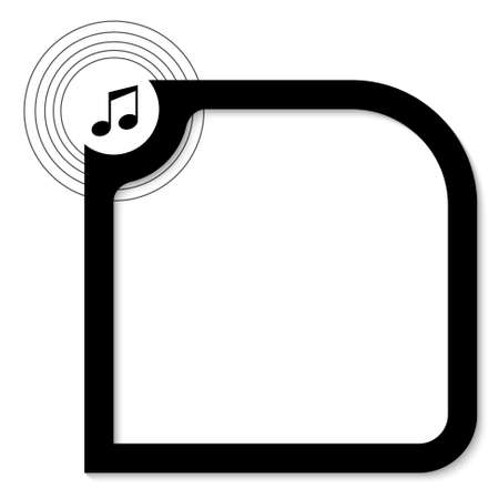 objec: black text box for text with music icon