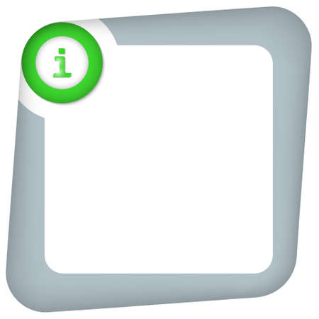 abstract box for entering text with green info icon Vettoriali