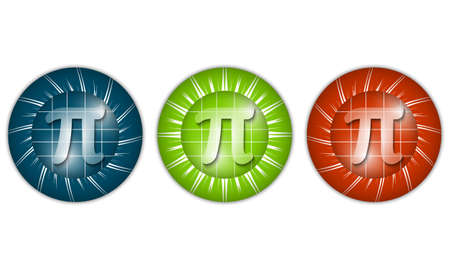 three colored: set of three colored icons with pi sign