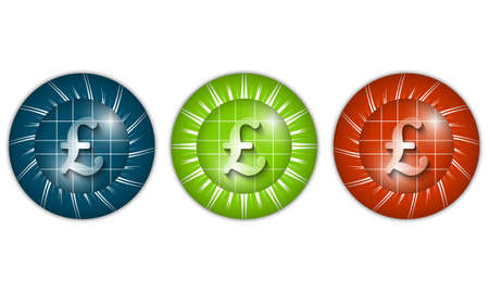 currency glitter: set of three colored icons with pound sign