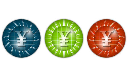 currency glitter: set of three colored icons with yen sign