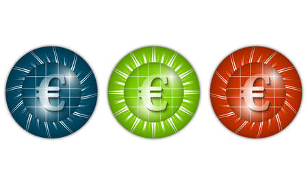 currency glitter: set of three colored icons with euro sign