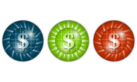 currency glitter: set of three colored icons with dollar sign