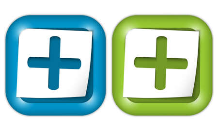 set of two icons with paper and plus sign