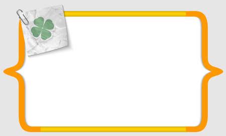 cloverleaf: vector brackets with crumpled paper and cloverleaf Illustration