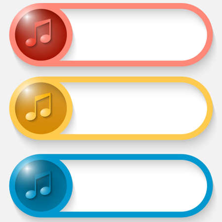 three colored: set of three colored vector abstract button with music icon