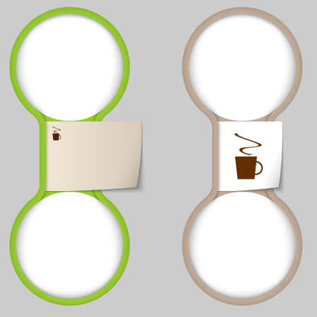 intermission: object with paper on notes and two circular area for entering text  Illustration