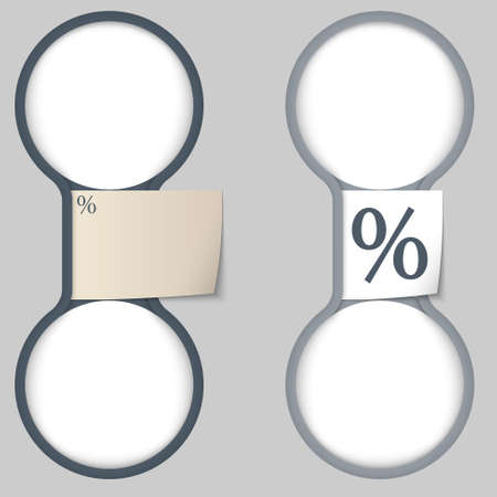share prices: object with paper on notes and two circular area for entering text  Illustration