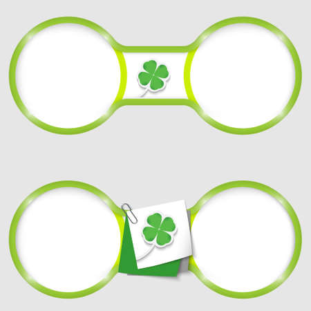 two circles for text with an cloverleaf Vector