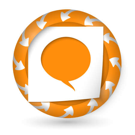 annular: vector abstract icon with arrows and speech bubble Illustration