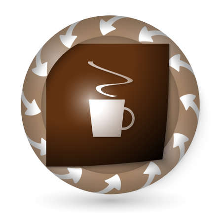 intermission: vector abstract icon with arrows and cup of coffee