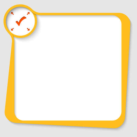 yellow text box with check box and arrows Vector